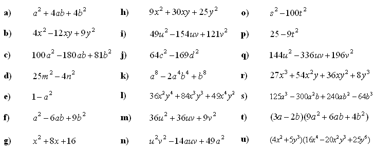 Answers to Math Exercises: Application of Formulas for Algebraic ...