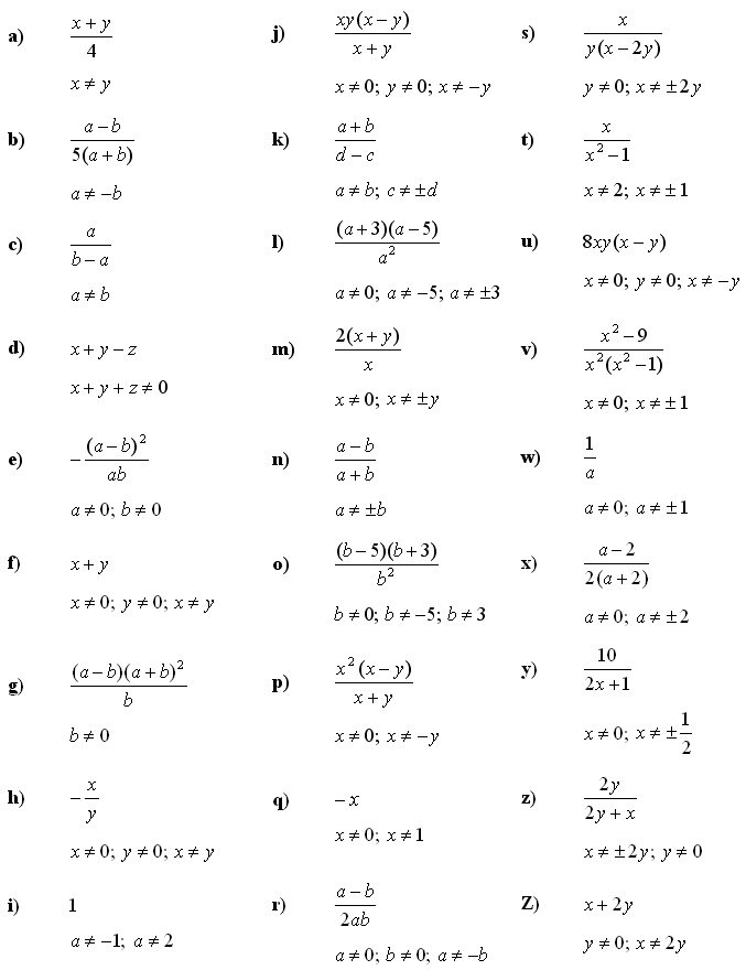 Answers to Math Exercises & Math Problems: Algebraic Fractions