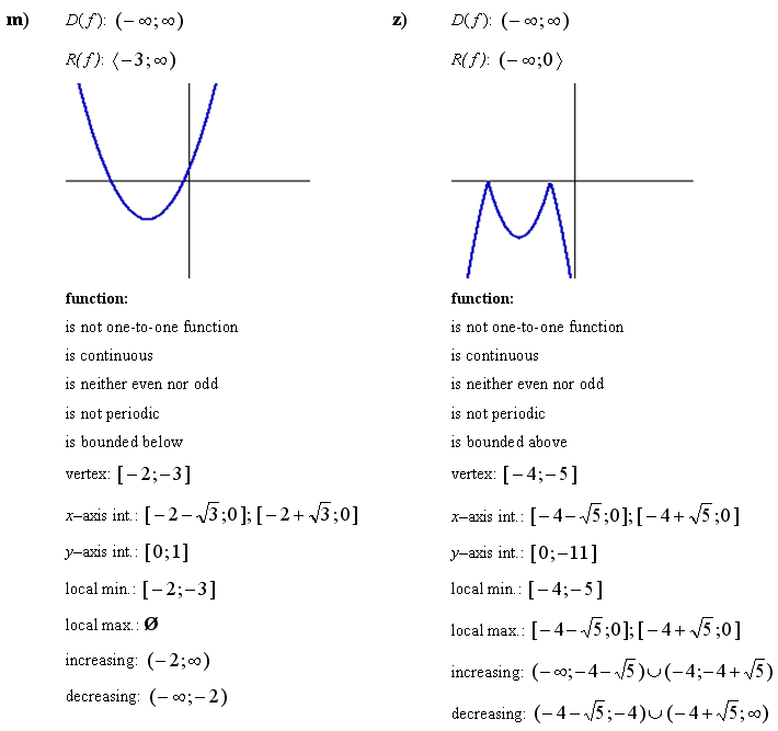 Answers to Math Exercises & Math Problems: Quadratic Function
