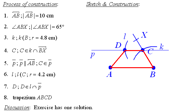 Answers To Math Exercises Problems Geometric Construction. Process Of Construction The Trapezium. Worksheet. Geometry Construction Worksheet At Clickcart.co