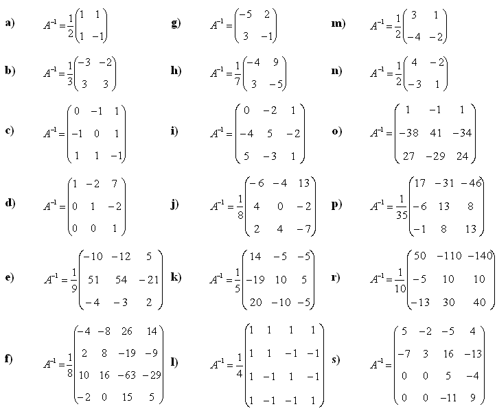 Answers to Math Exercises & Math Problems: Inverse Matrix