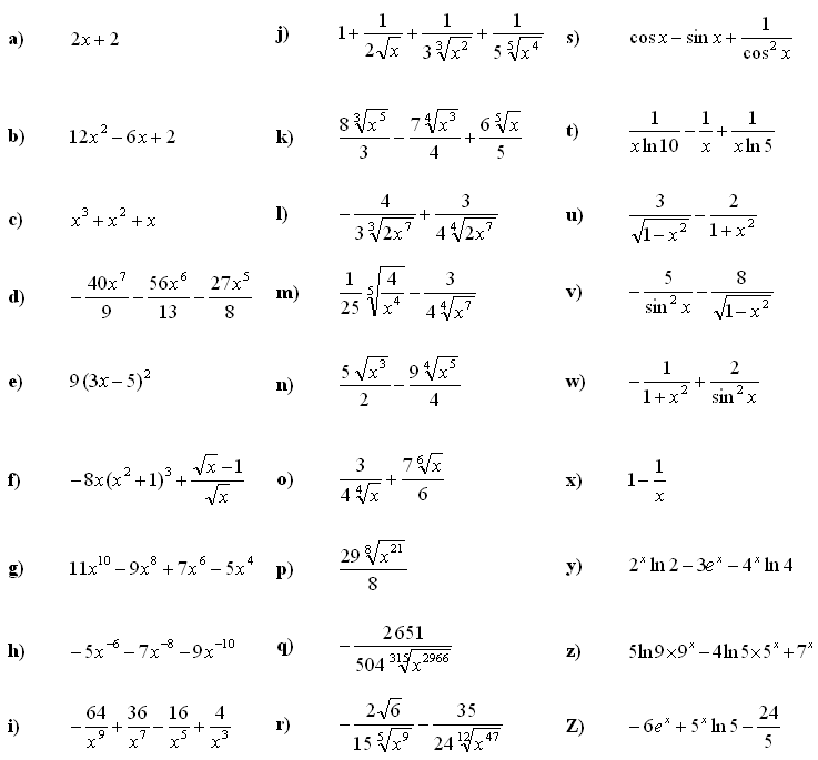 Answers to Math Exercises & Math Problems: Derivative of a Function