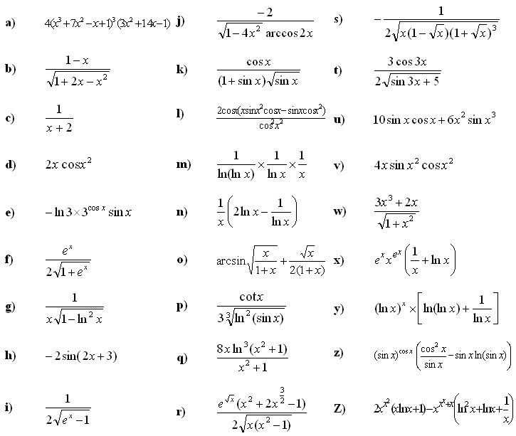 derivative practice problems and answers pdf