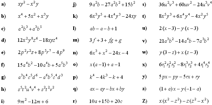 Math Exercises: Application of Formulas for Algebraic Expressions ...