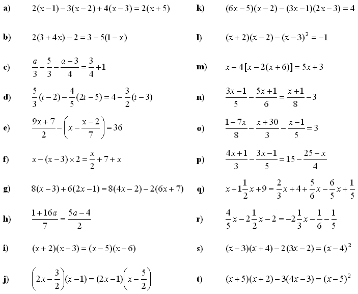 Math Exercises & Math Problems: Linear Equations and Inequalities