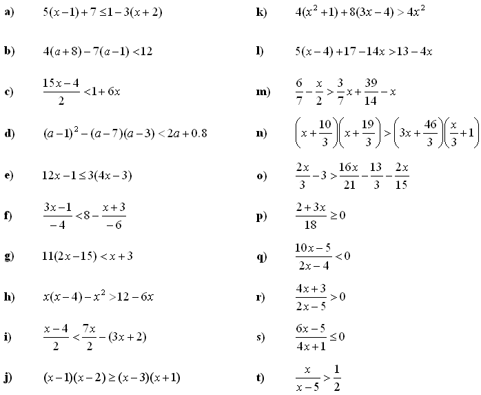 Linear equations and inequalities - Exercise 6