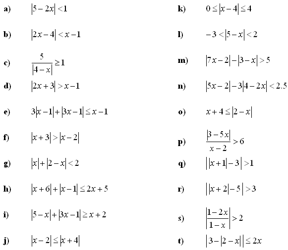 Math Exercises Linear Equations and Inequalities – Inequalities Maths Worksheet