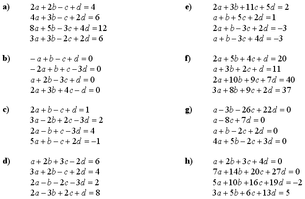 Math Exercises & Math Problems: Systems of Linear Equations and