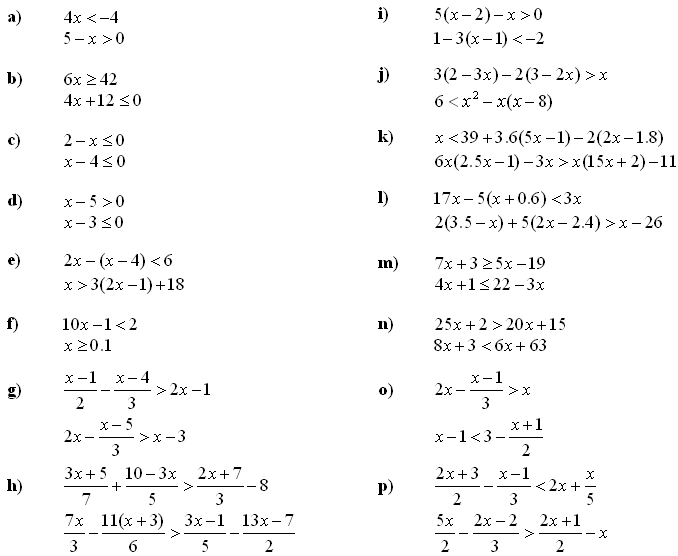 Math Exercises Math Problems Systems of Linear Equations and – System of Inequalities Word Problems Worksheet