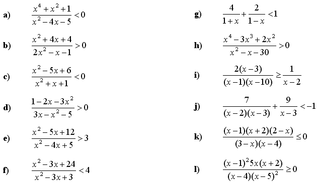 Quadratic equations and inequalities - Exercise 4