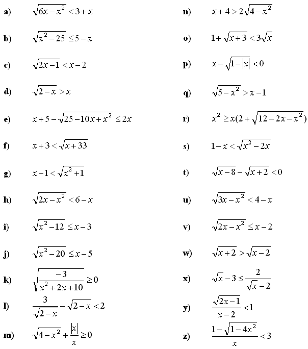 Irrational equations and inequalities - Exercise 2
