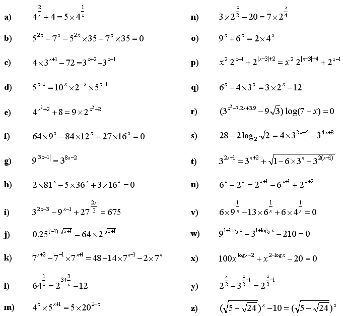 Math Exercises Math Problems Exponential Equations And Inequalities