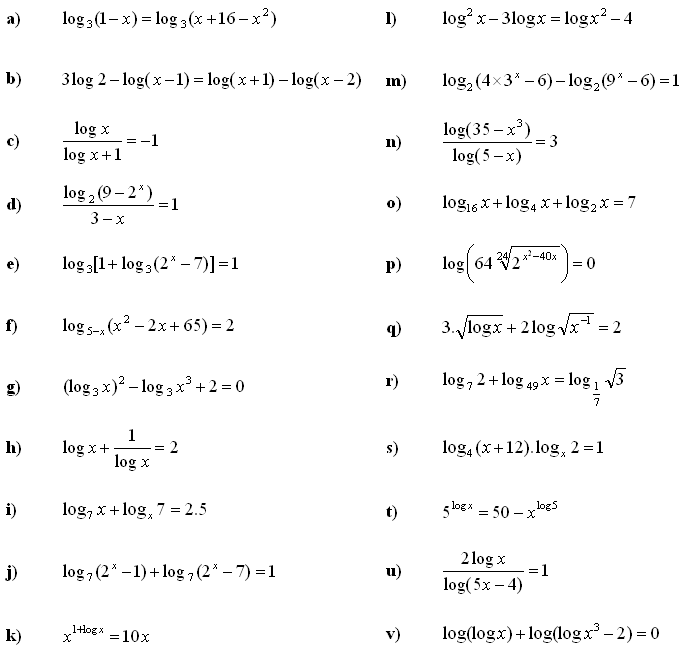 Math Exercises & Math Problems: Logarithmic Equations and Inequalities