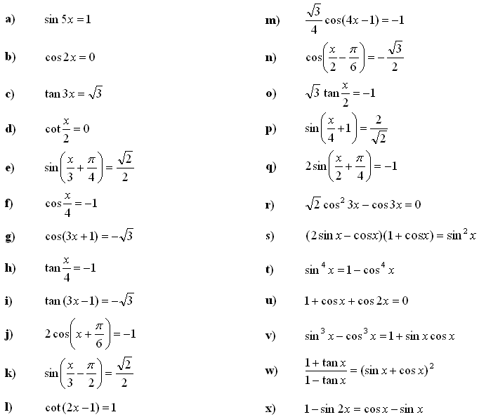 Math Exercises Trigonometric Equations and Inequalities – Trig Equations Worksheet