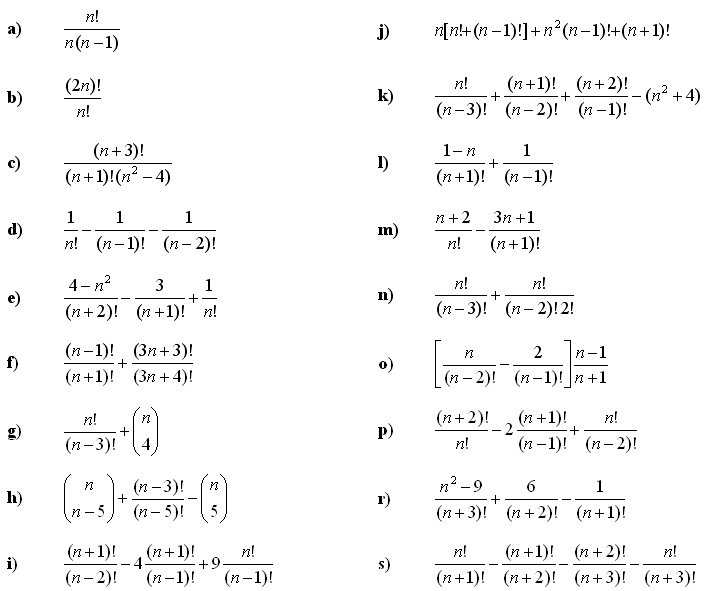Factorials and Combinatorial expressions - Exercise 1