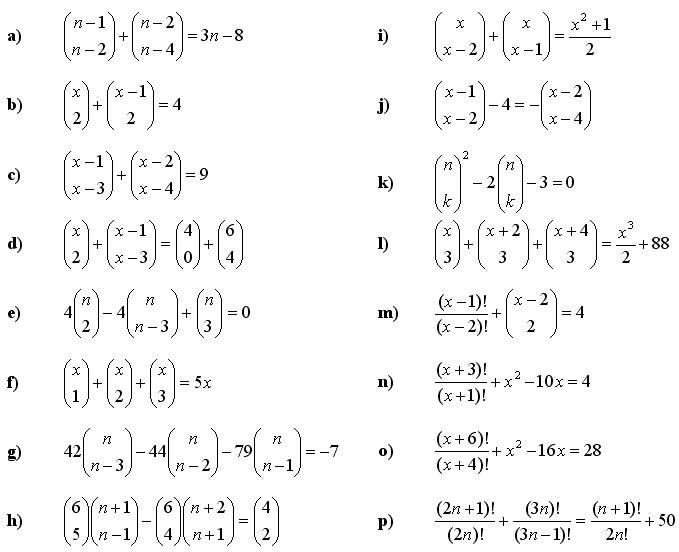 Combinatorial equations and inequalities - Exercise 1