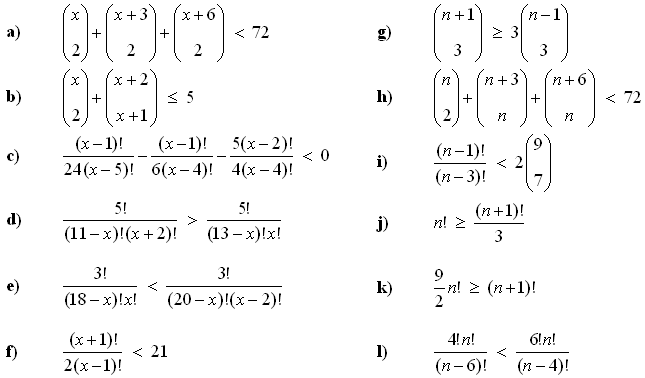 Combinatorial equations and inequalities - Exercise 3