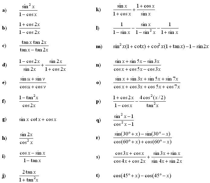 Math Exercises: Trigonometry and Trigonometric Expressions