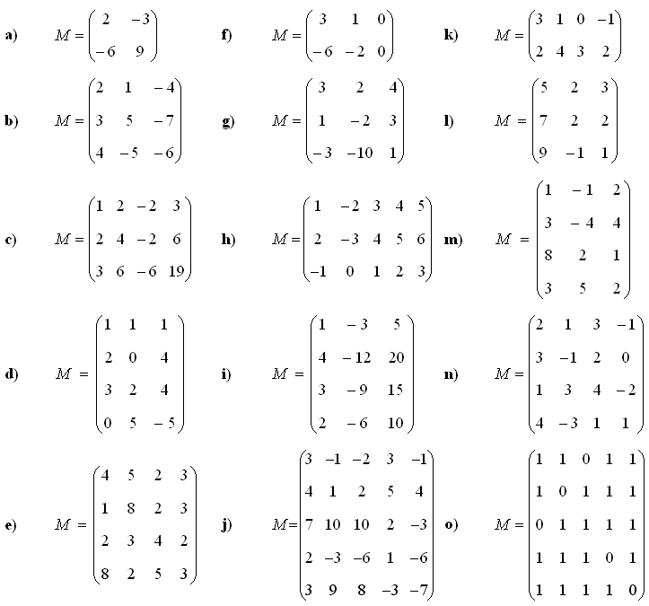 Math Exercises & Math Problems: Rank of a Matrix