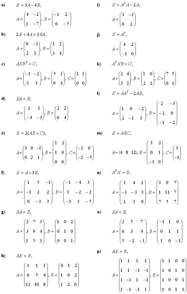 Math Exercises & Math Problems: Matrix Equations
