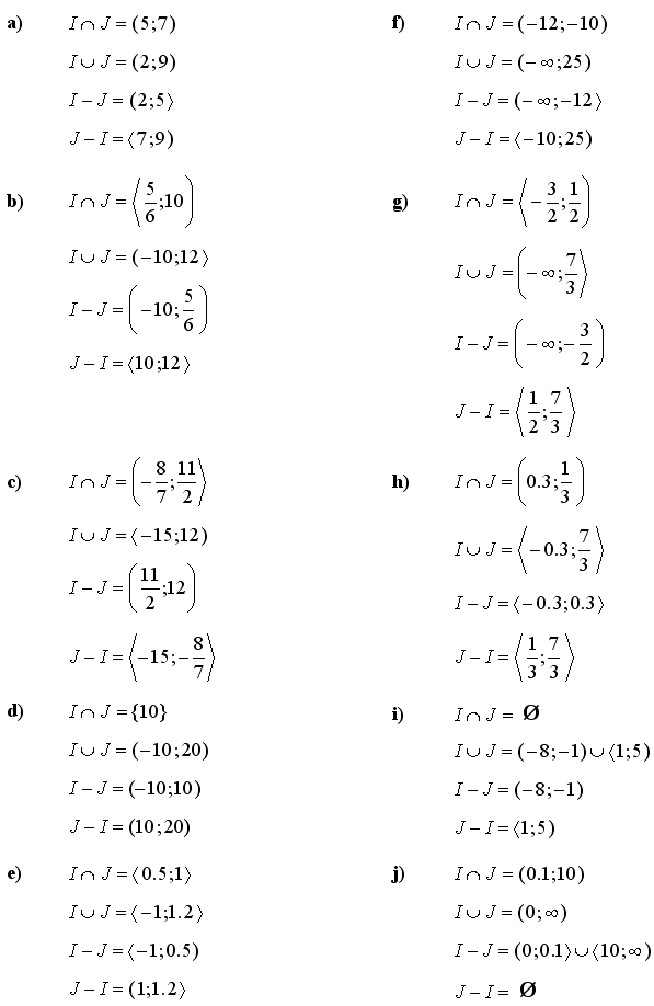 Answers to Math Exercises & Math Problems: Sets and Intervals