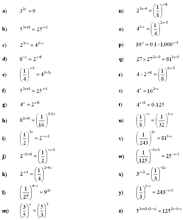 Math Exercises & Math Problems: Exponential Equations and ...