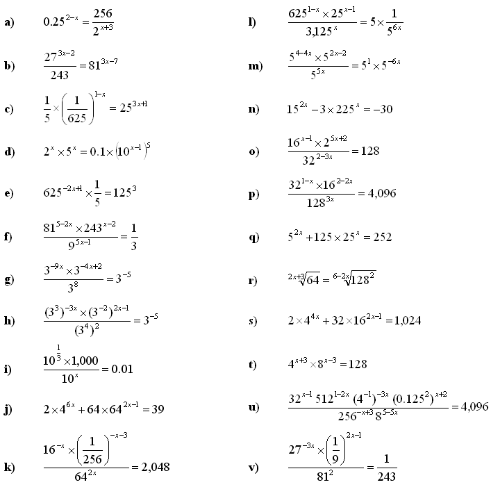 Math Exercises & Math Problems: Exponential Equations and
