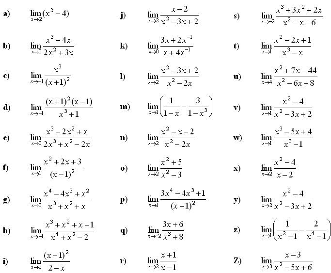 Math Exercises & Math Problems: Limit of a Function